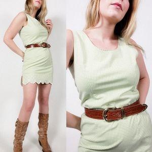 Vintage gingham plaid mini dress scalloped green